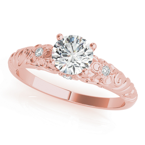 Floral Engraved Solitaire Ring Rose Gold