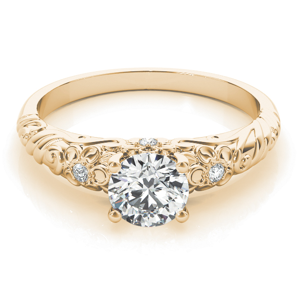 Floral Engraved Solitaire Ring Yellow Gold