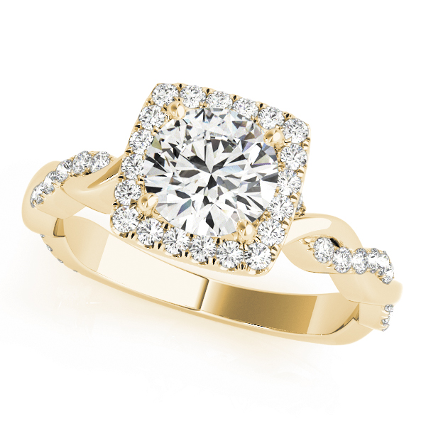 Square Halo Diamond Engagement Ring, Twisted Band in Yellow Gold