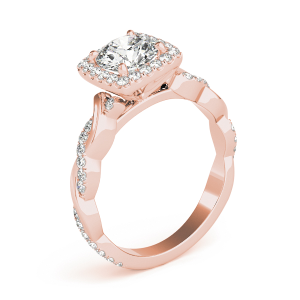 Square Halo Diamond Engagement Ring, Twisted Band in Rose Gold