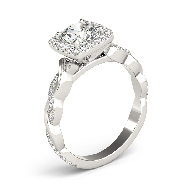 Square Halo Diamond Engagement Ring, Twisted Band