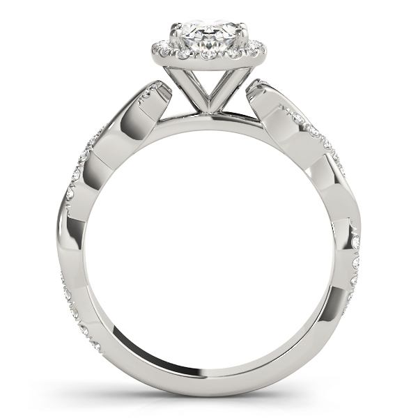 Oval Halo Diamond Engagement Ring, Twisted Band