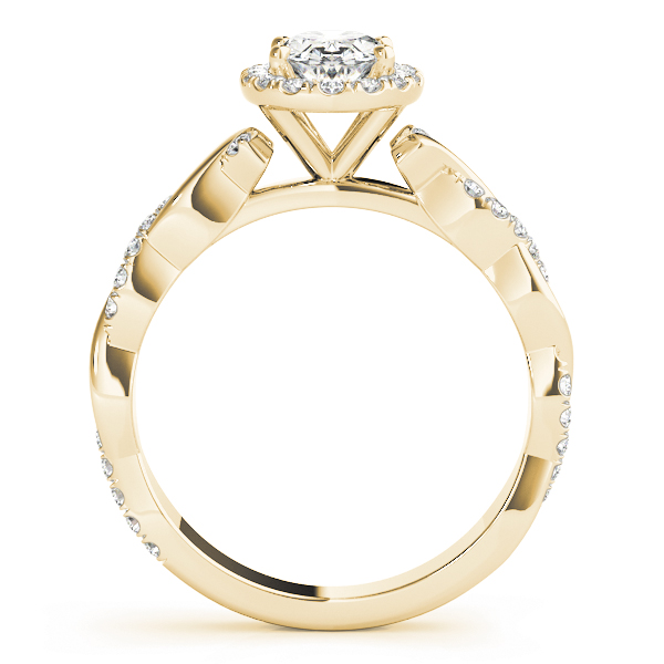 Oval Halo Diamond Engagement Ring, Twisted Band in Yellow Gold