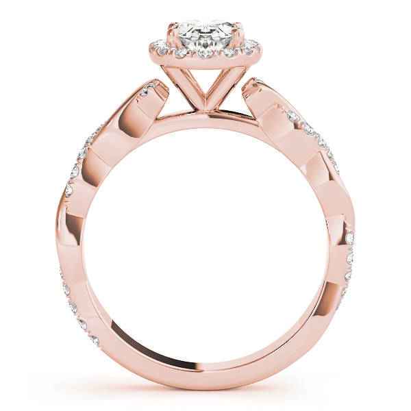 Oval Halo Diamond Engagement Ring, Twisted Band in Rose Gold