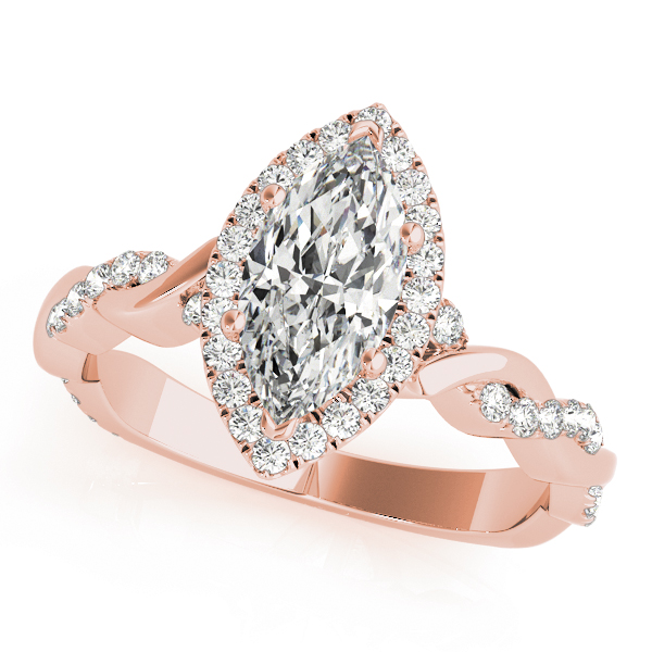 Marquise Halo Diamond Engagement Ring, Twisted Band in Rose Gold