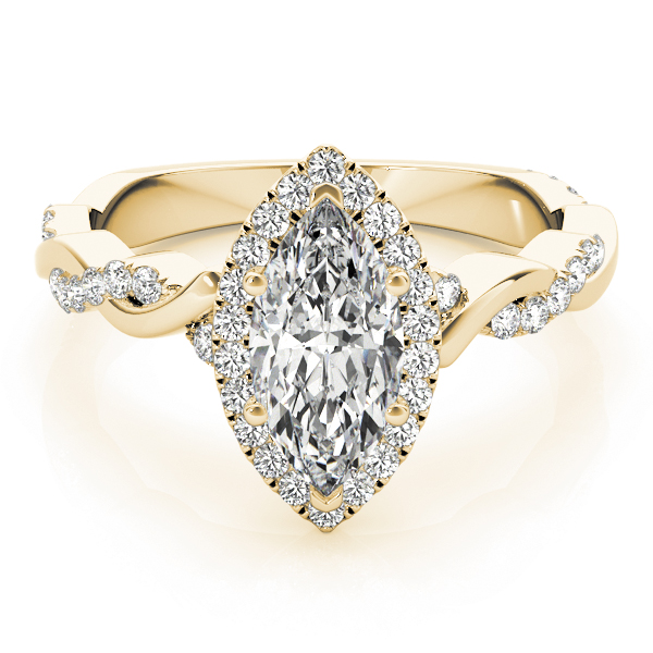 Marquise Halo Diamond Engagement Ring, Twisted Band in Yellow Gold