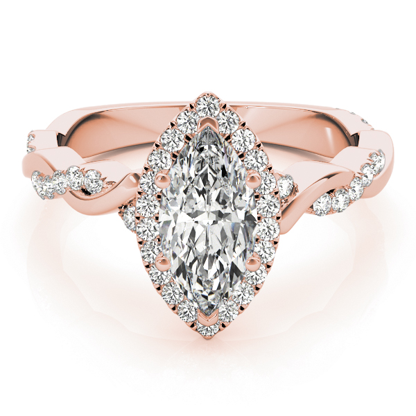Marquise Diamond Halo Engagement Ring, Twisted Band Rose Gold