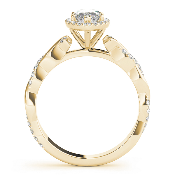 Marquise Diamond Halo Engagement Ring, Twisted Band Yellow Gold