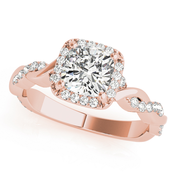 Cushion Halo Diamond Engagement Ring, Twisted Band in Rose Gold