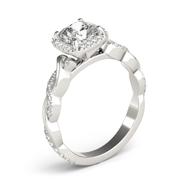 Cushion Halo Diamond Engagement Ring, Twisted Band