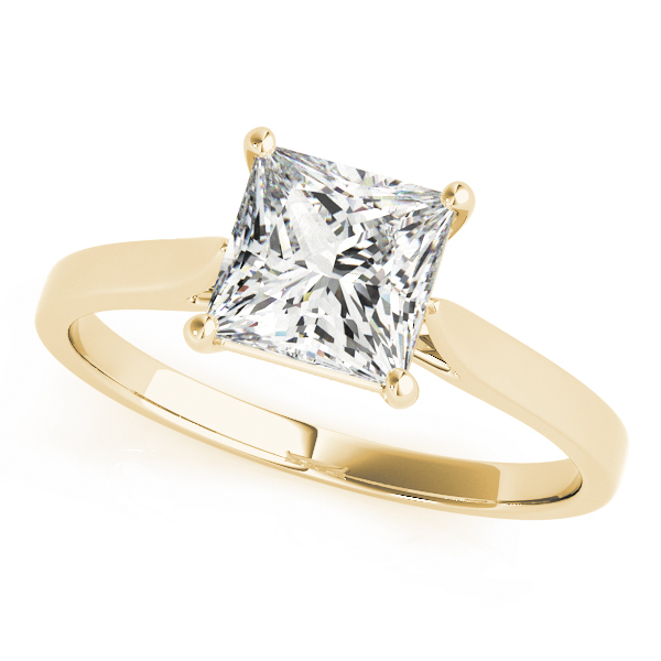 Cathedral Solitaire Princess Engagement Ring Yellow Gold