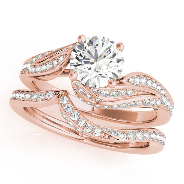 Swirled Leaf Diamond Bridal Set Rose Gold