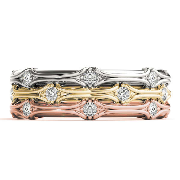 Tri Color Stackable Diamond Ring Set