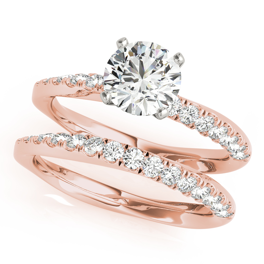 Knife Edge Swirl Bridal Set Rose Gold
