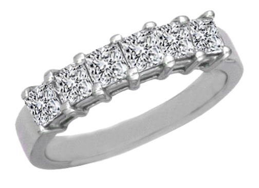 Six Stone Princess Diamond Wedding Band G-H VS 0.25 tcw. In 14K White Gold