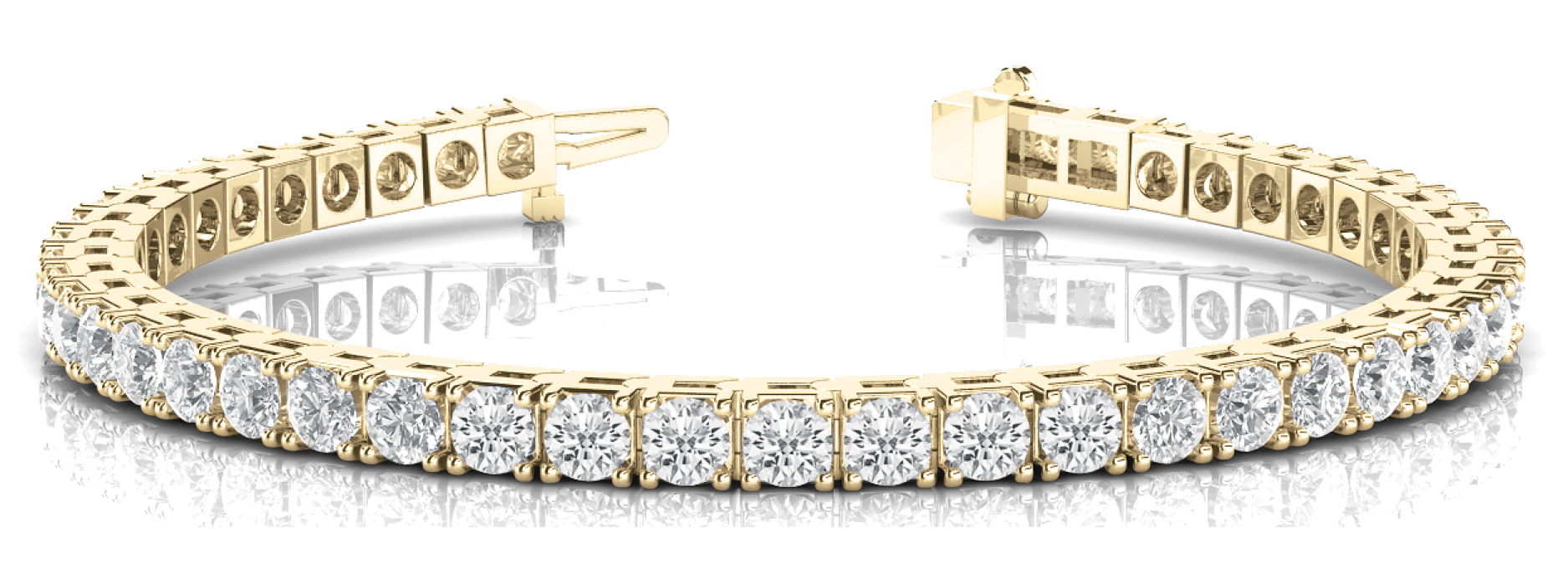 4 Carat Round Diamond Tennis Bracelet Yellow Gold