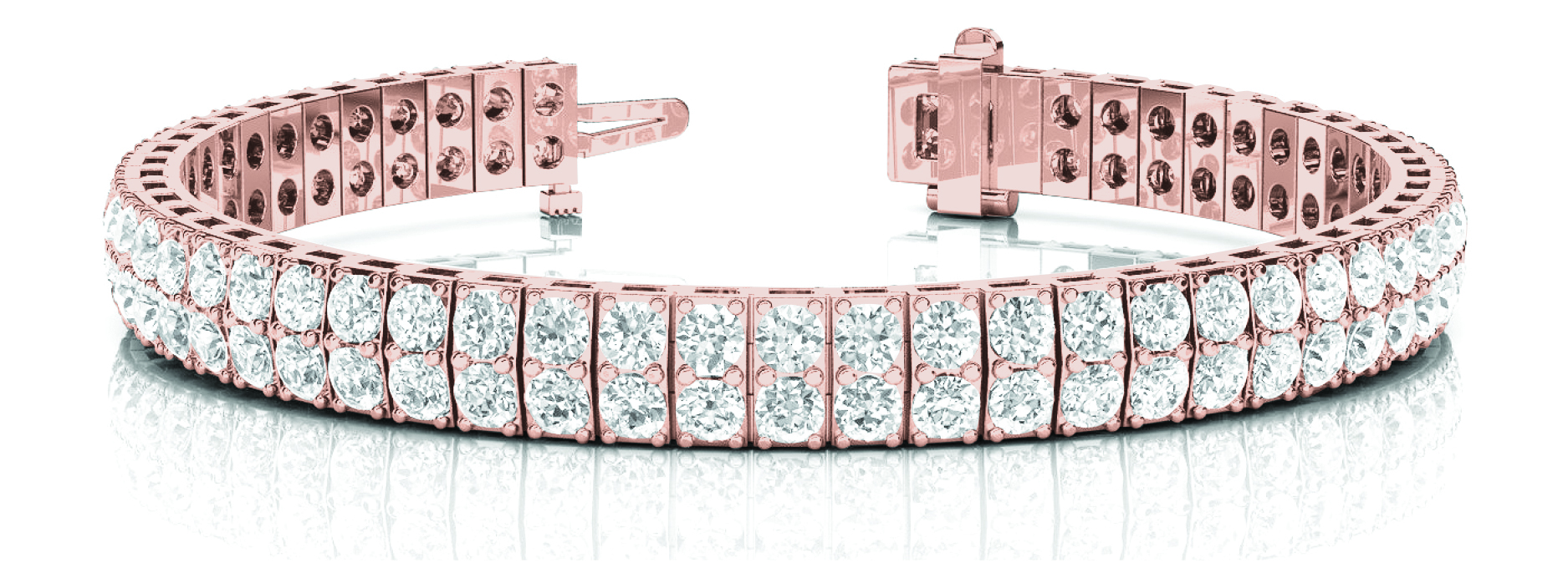 6 Carat Multi Row Diamond Rose Gold Bracelet