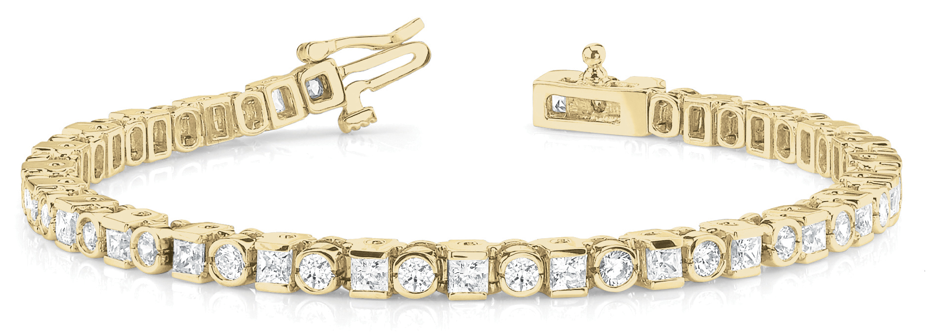 5.45 Ct Round & Princess Diamond Bar and Bezel Yellow Gold Bracelet