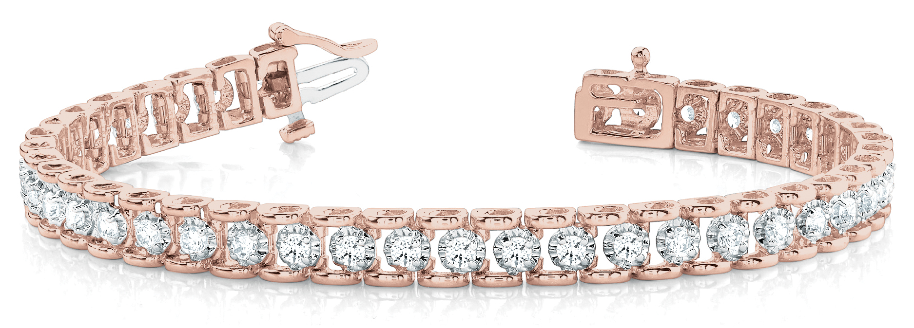 2 Carat Round Diamond Tennis Bracelet Rose and White Gold