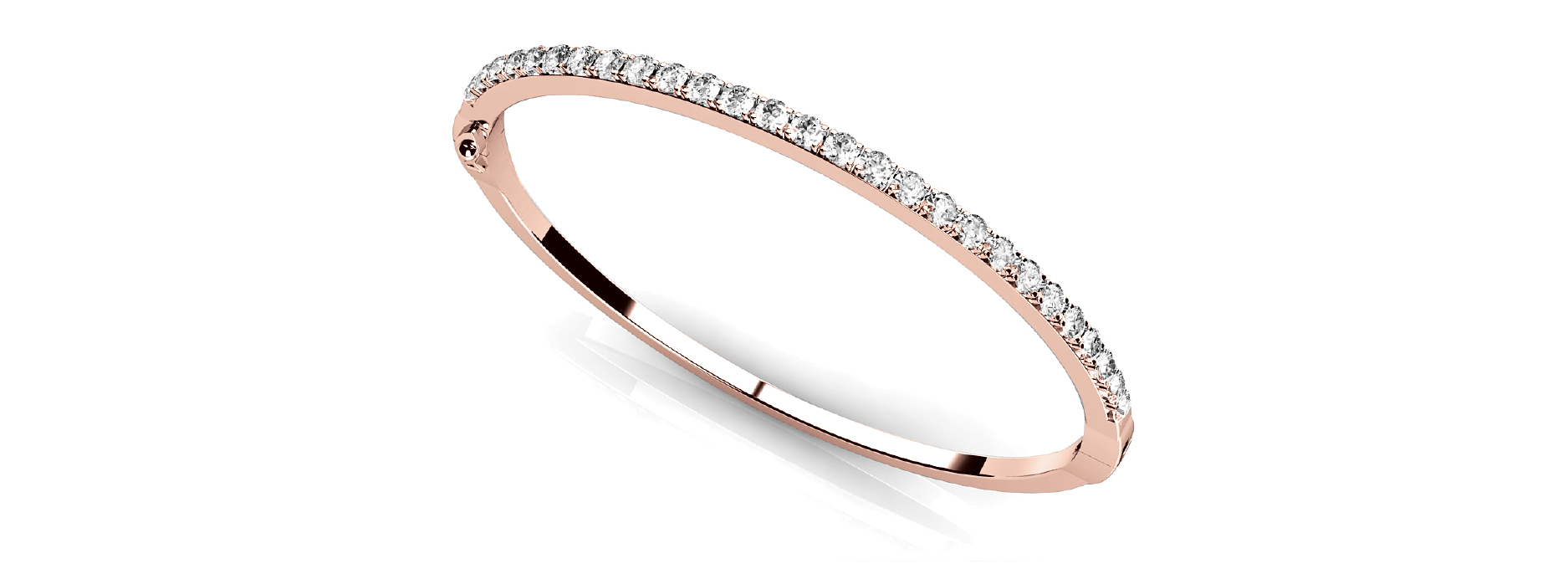 Round Diamond Rose Gold Bangle 2 Ct