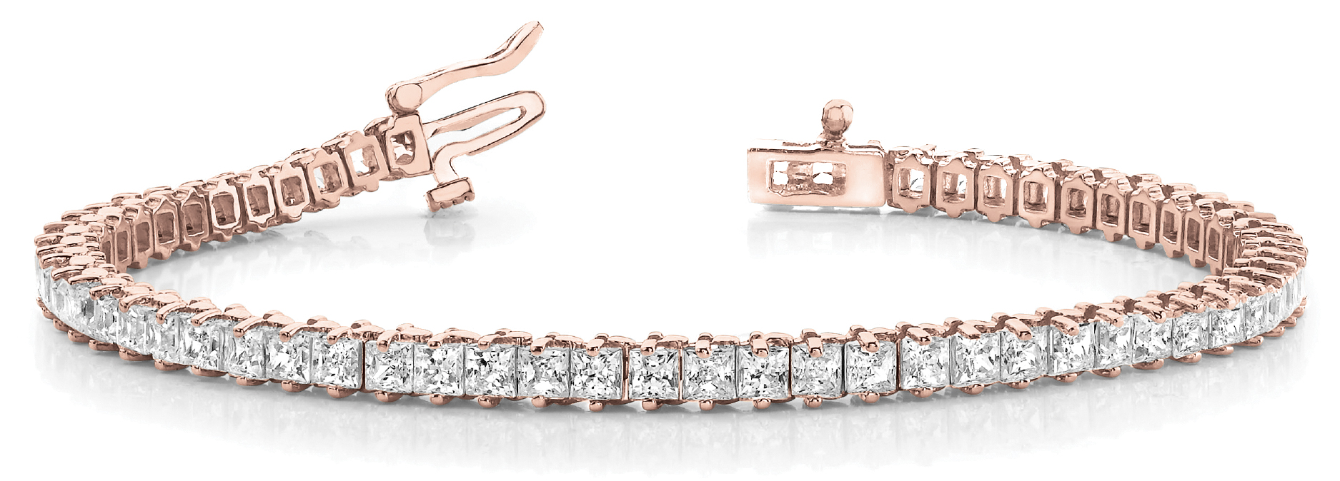 4.9 Carat Princess Diamond Rose Gold Tennis Bracelet