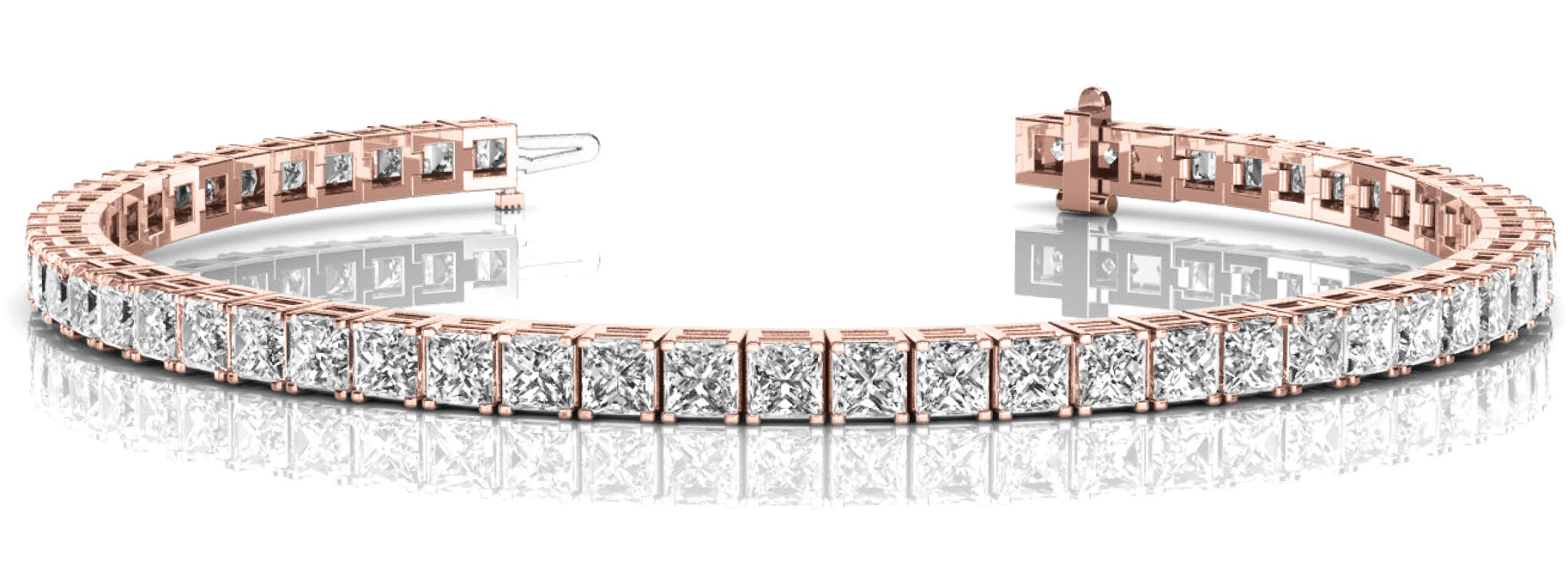 6.6 Carat Princess Diamond Rose Gold Tennis Bracelet