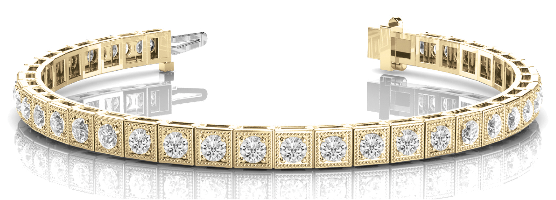 3 Carat Round Diamond Square Yellow Gold Tennis Bracelet