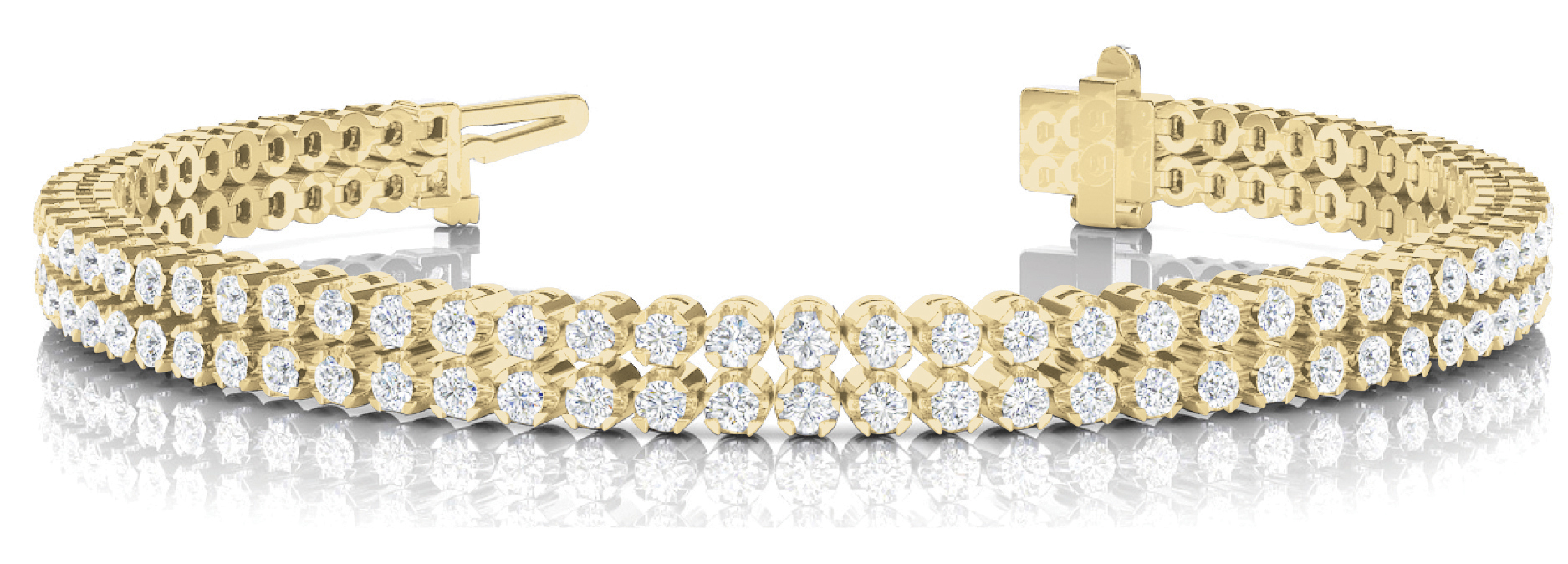 Multi Row Duo Round Diamond Bracelet 3.64 Ct. Yellow Gold