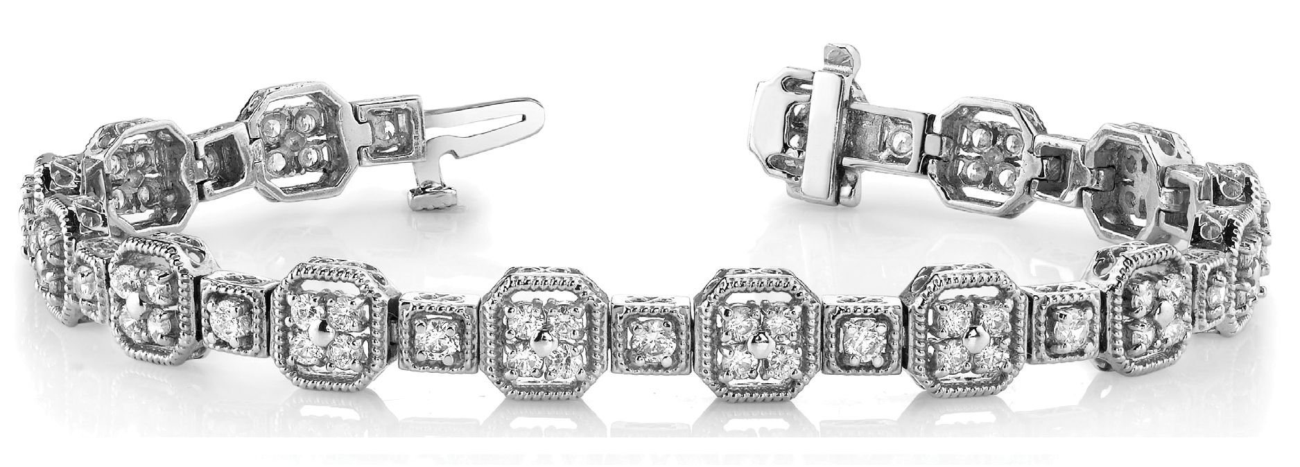 Octagon Rope Diamond Cluster Platinum Bracelet 5 ct.