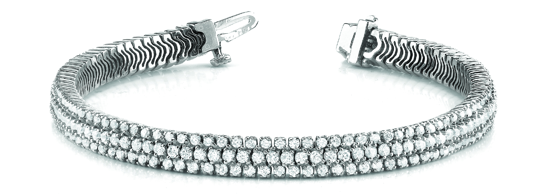 Multi Row Etoil Round Diamond Platinum Bracelet 9 Ct.