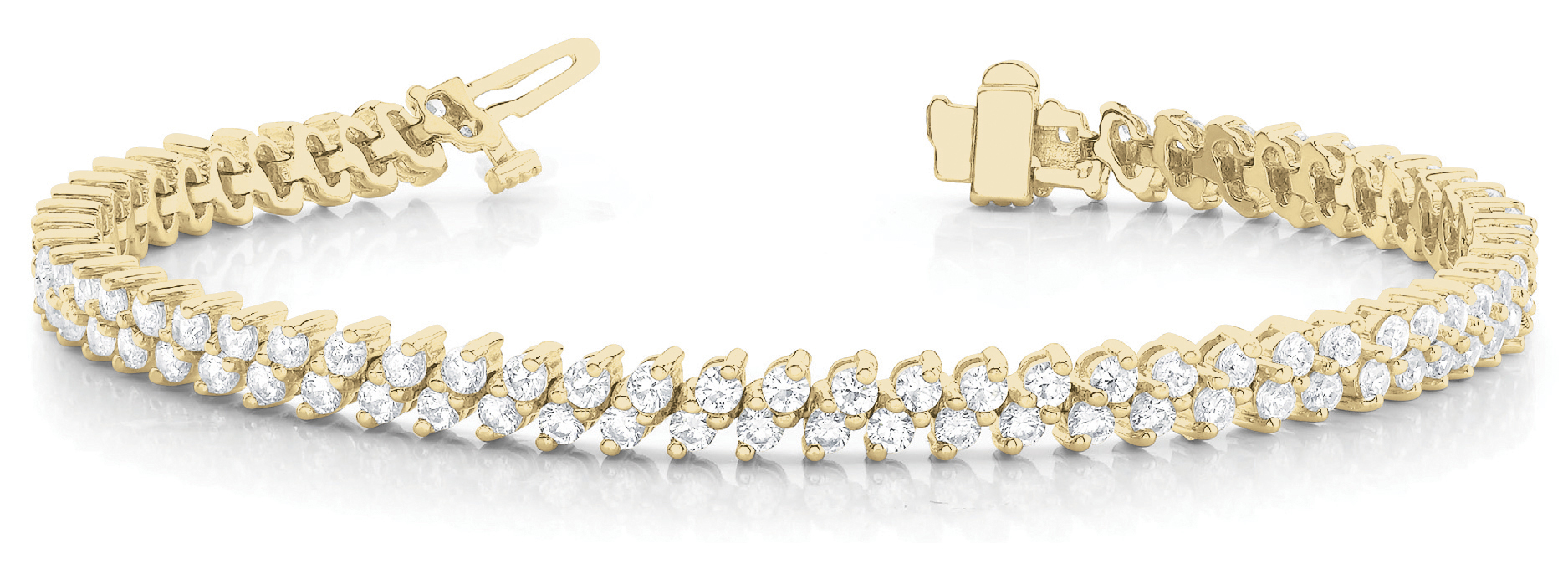 Diagonal Duo Round Diamond Bracelet 4.95 Ct. Yellow Gold
