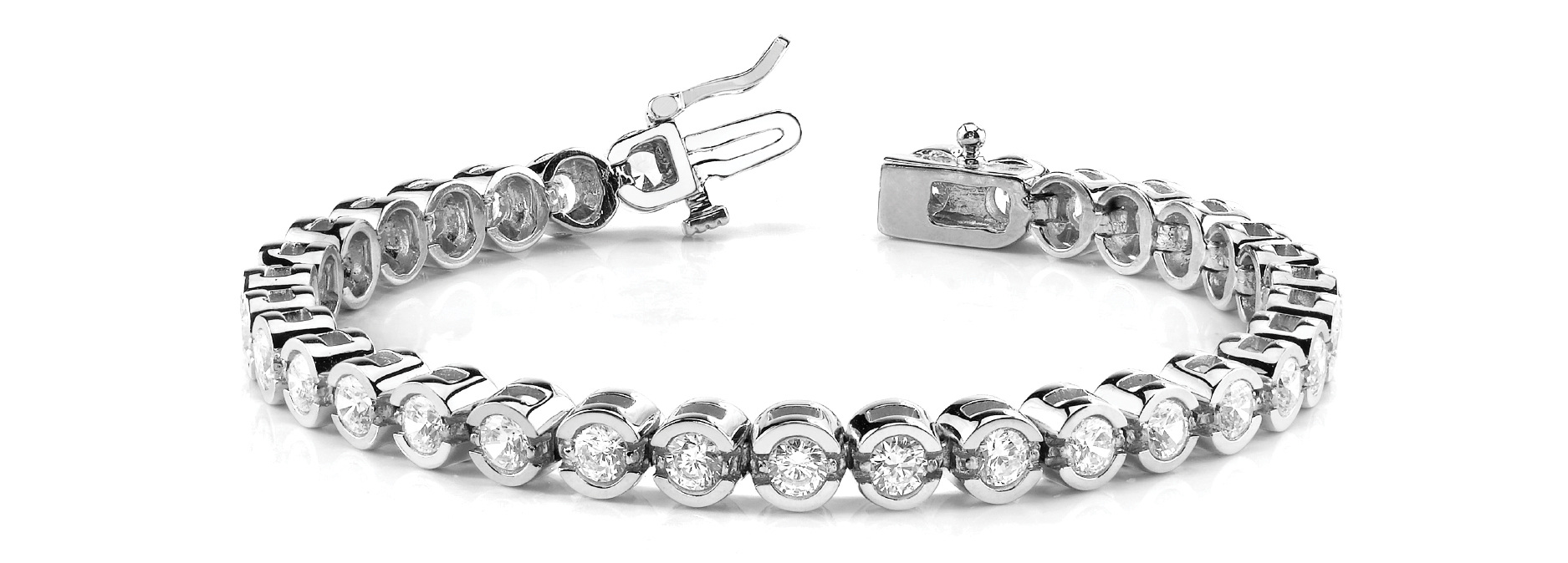 3.75 Carat Round Diamond Square Platinum Tennis Bracelet