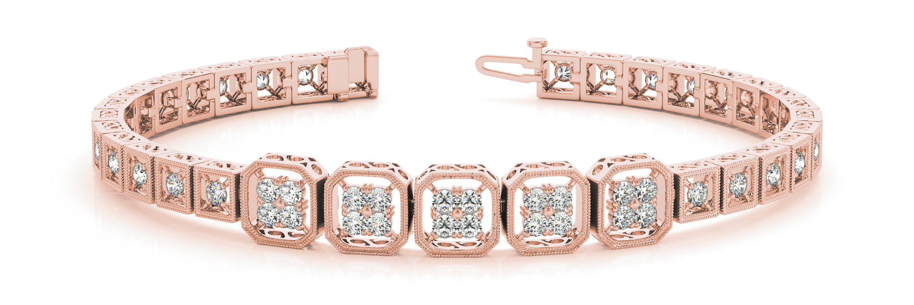 Quad Octagon Round Diamond Filigree Bracelet Rose Gold 1.4 ct.