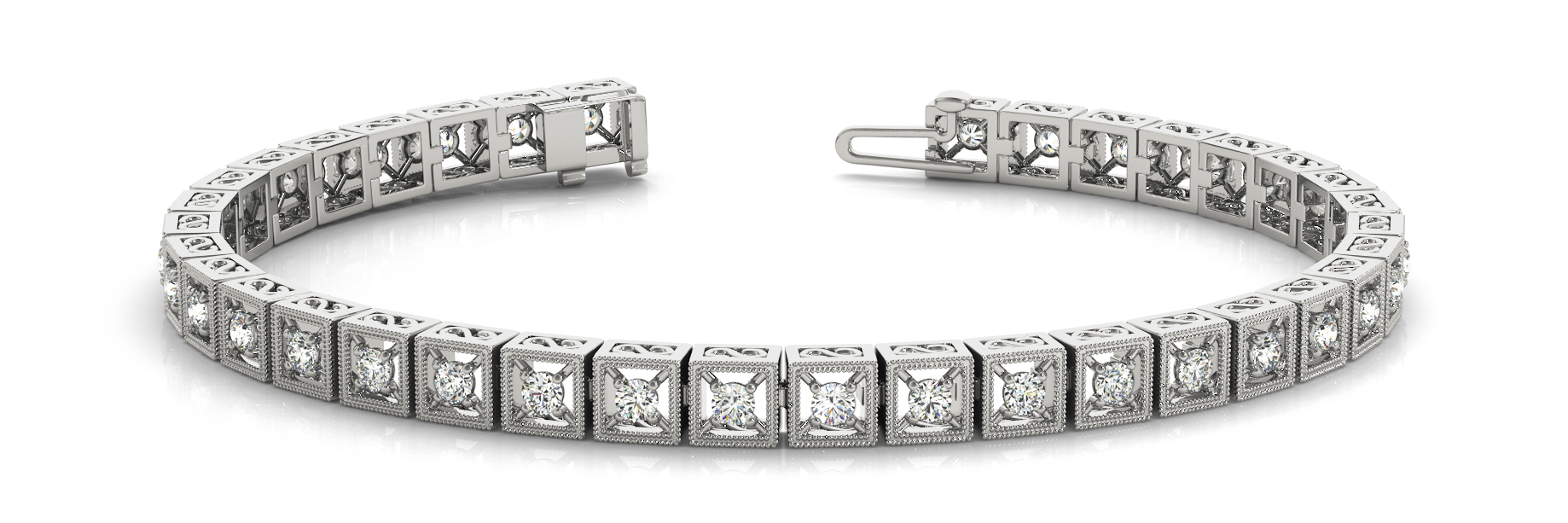 1.08 Carat Round Diamond Square Filigree Bracelet