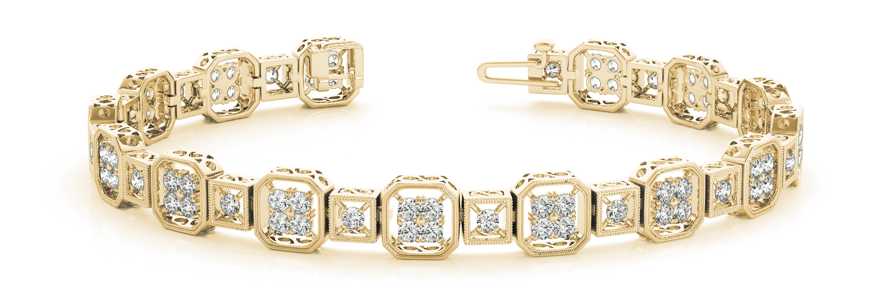 Octagon & Square Round Diamond Cluster Bracelet Yellow Gold