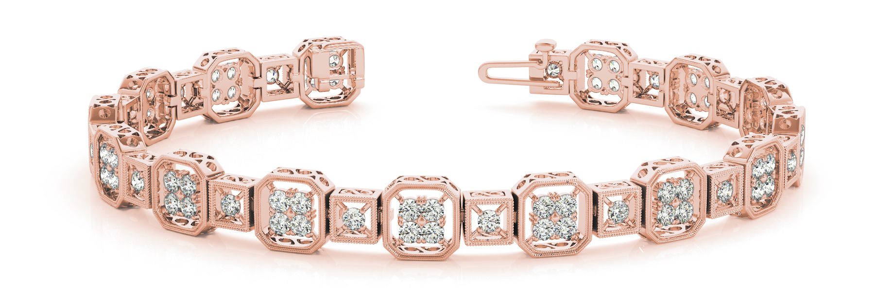 Octagon & Square Round Diamond Cluster Bracelet Rose Gold
