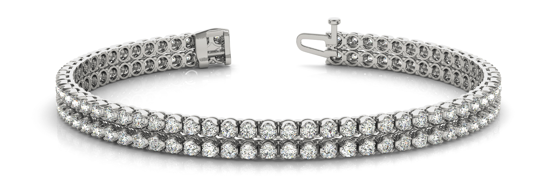 Multi Row Duo Round Diamond Bracelet 1.86 Ct.