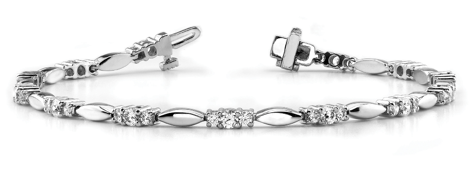 Three Stone Bar Link Bracelet 0.95 Carat