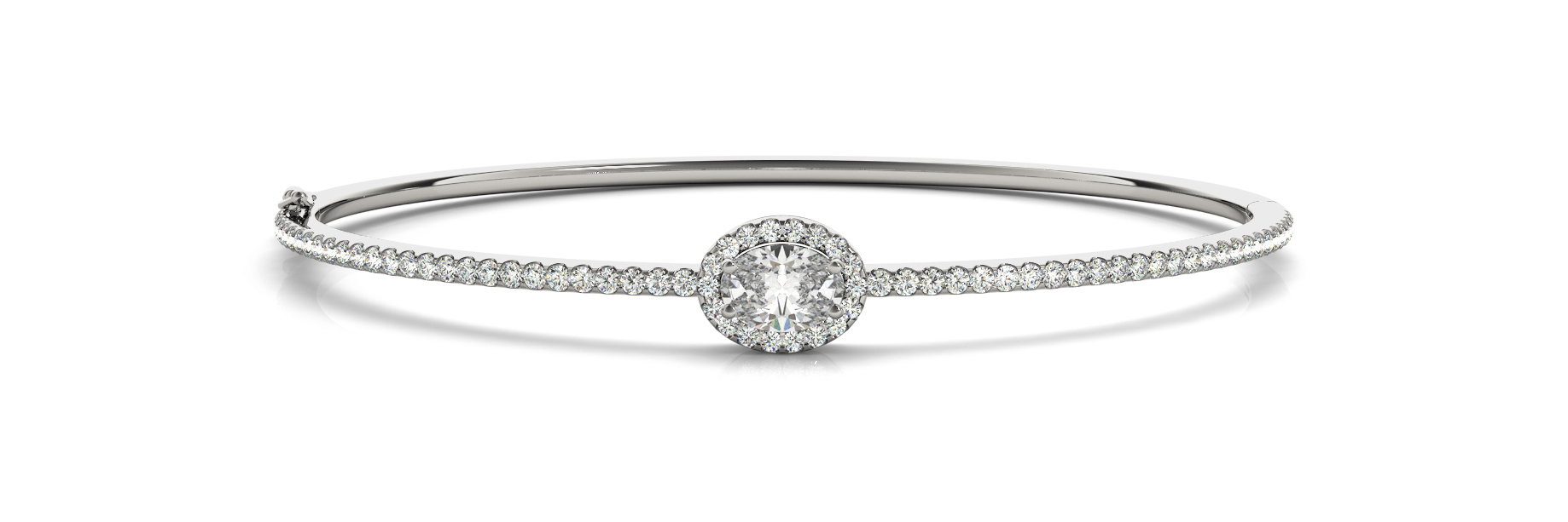 Oval & Round Diamond Center Stone Halo Bangle