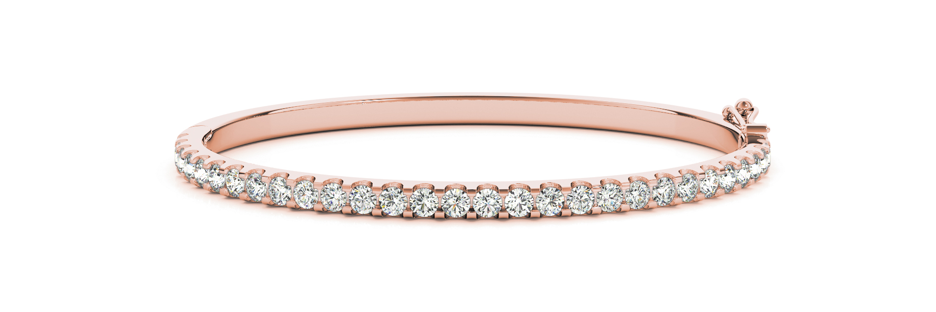 3.96 Carat Round Diamond Bangle in Rose Gold