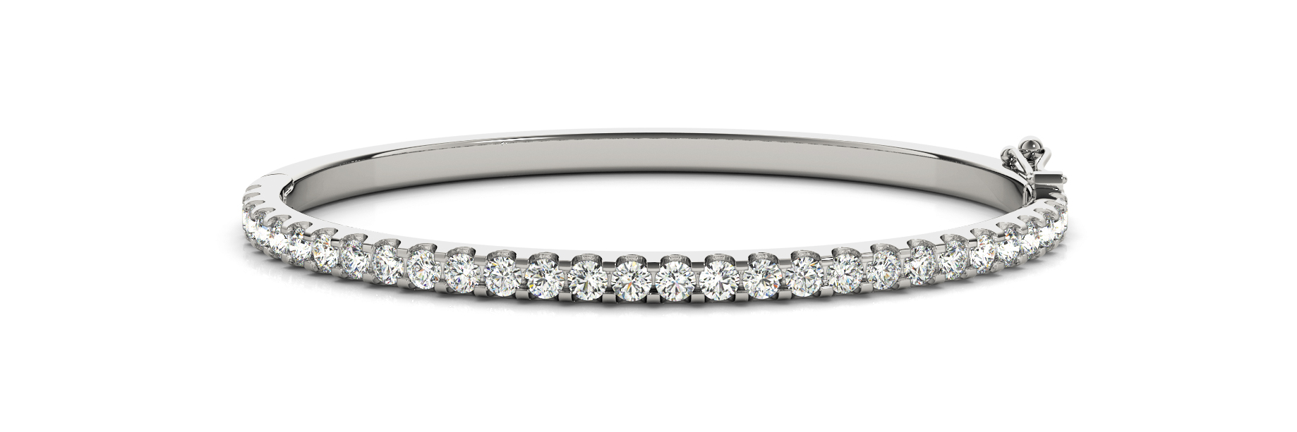 4.2 Carat Round Diamond Bangle in White Gold