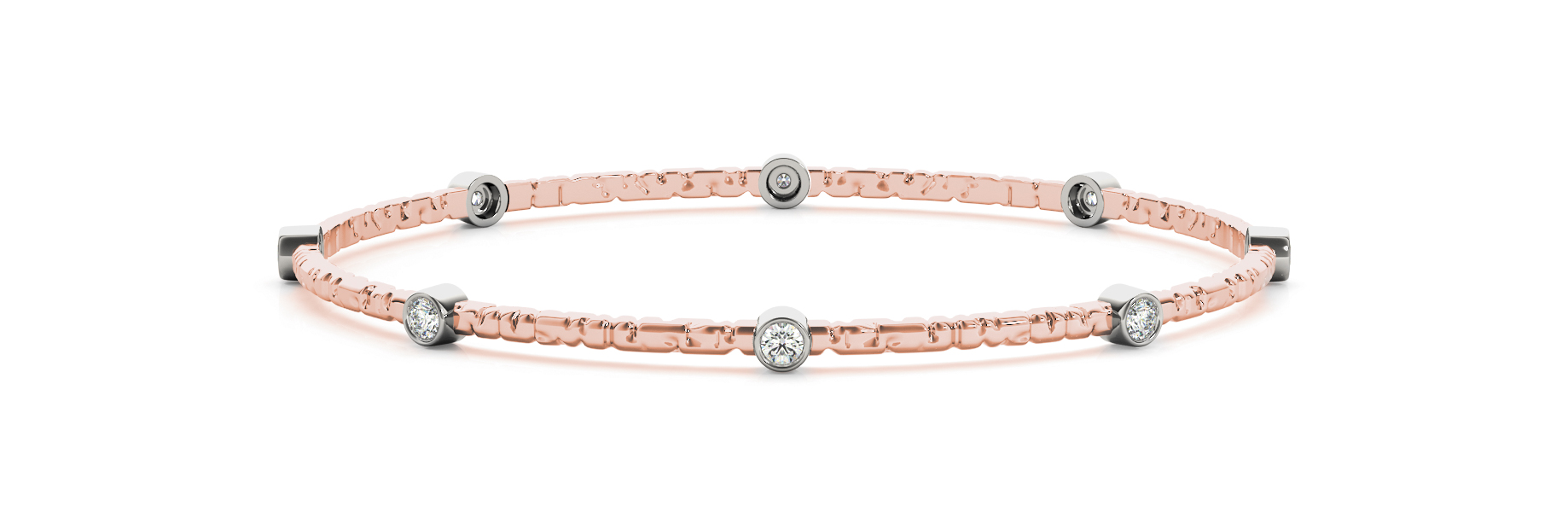 0.8 Carat Round Diamond Bangle in Rose Gold