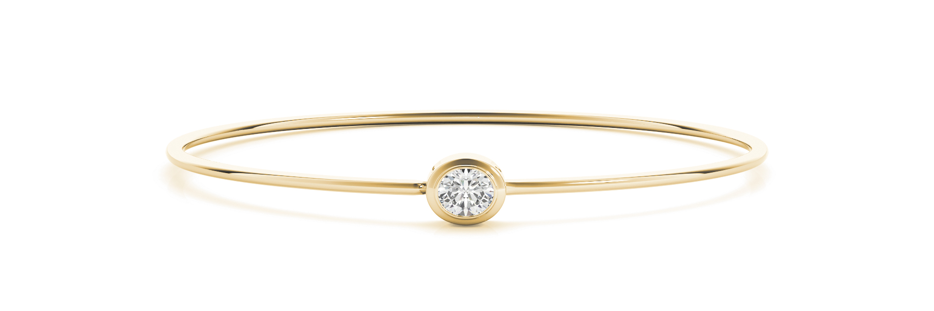 Oval Diamond Solitaire Bezel Bangle Yellow Gold