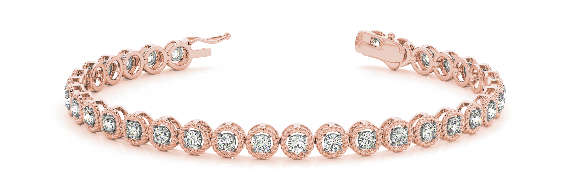 1.98 Carat Round Diamond Rope Bracelet Rose Gold