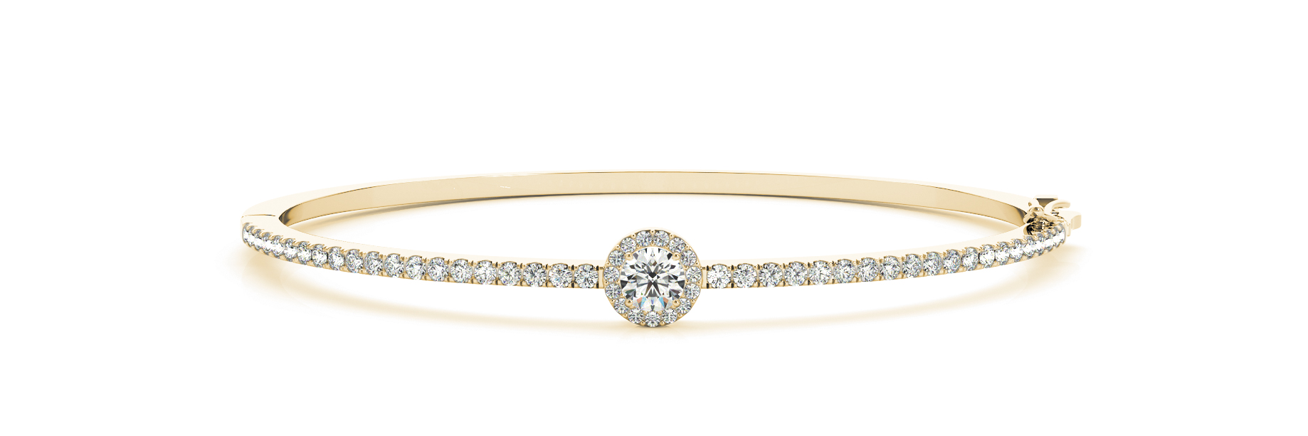 Round Diamond Center Stone Halo Yellow Gold Bangle