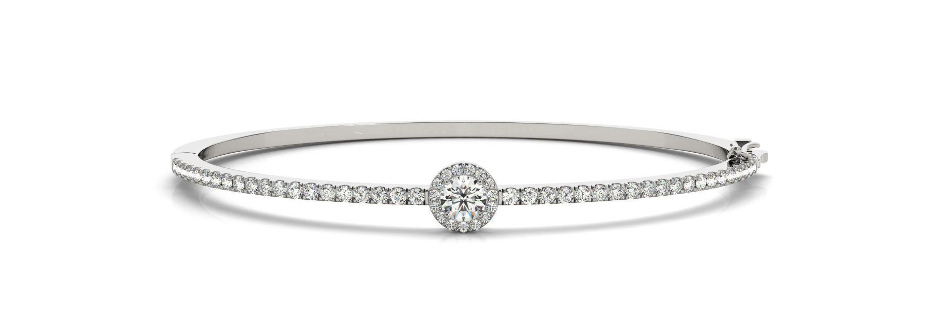 Round Diamond Center Stone Halo Bangle