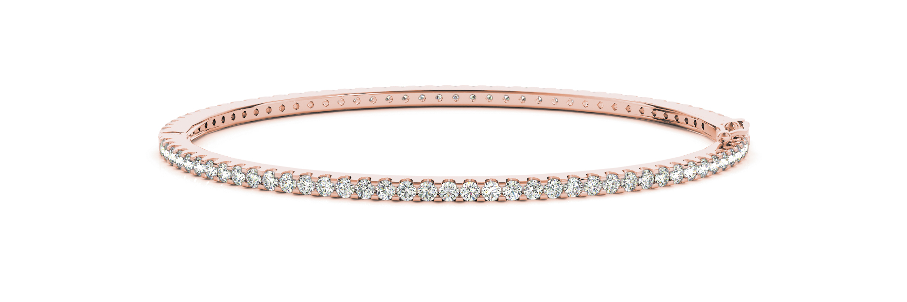 2.34 Carat Round Diamond Bangle in Rose Gold
