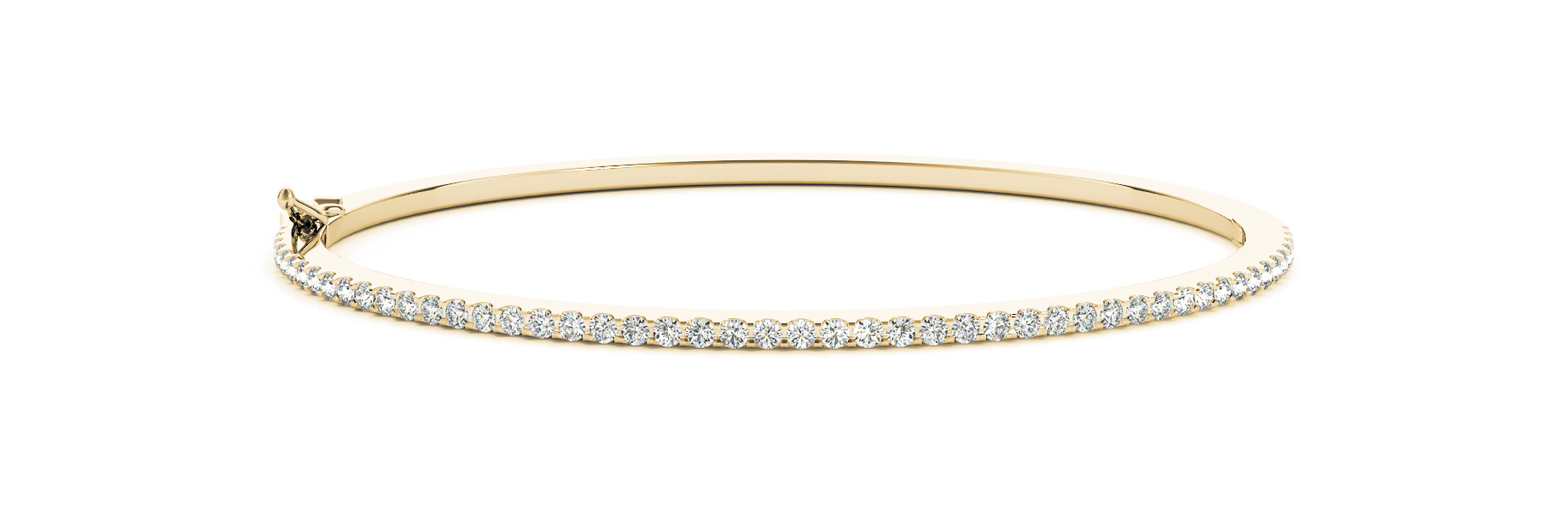 0.82 Carat Round Diamond Bangle in Yellow Gold