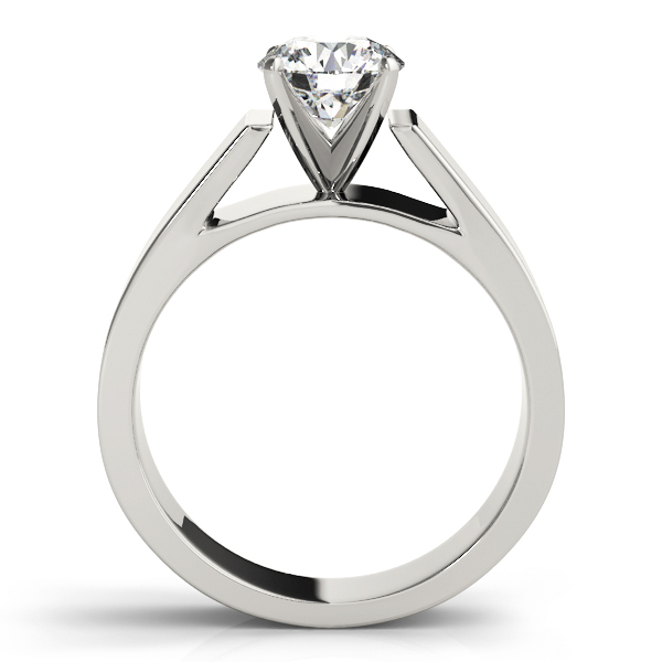 Wide Band Classic Solitaire Cathedral Engagement Ring in Platinum