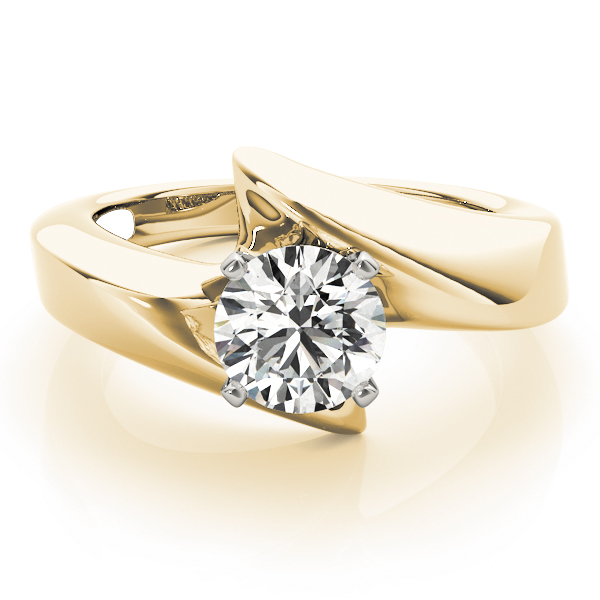 Wide Swirl Solitaire Engagement Ring in Yellow Gold